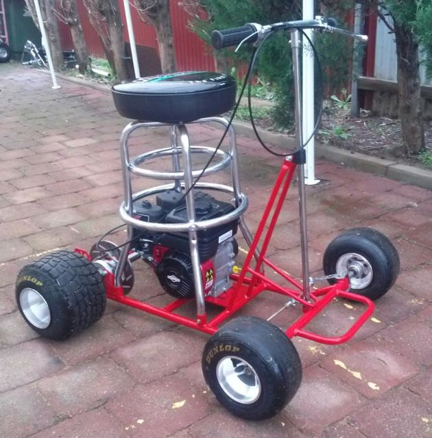 traditional motorised barstools kits Australia  : red barstool racer from gokartengineparts.com.au size 630 x 640 jpeg 82kB